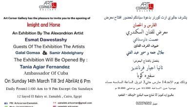 """صورة افتتاح معرض  للفنان السكندرى """"عصمت داوستاشى"""" """"الفارس والحصان"""""""