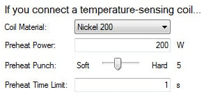 Temperature profile setting