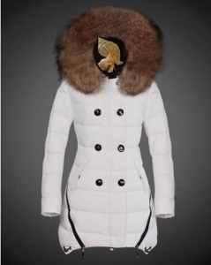 Soldes Moncler Manteau Hiver Femme Fourrure Capuche Blanc