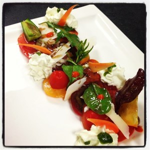 Tomates collections et chantilly de mozzarella