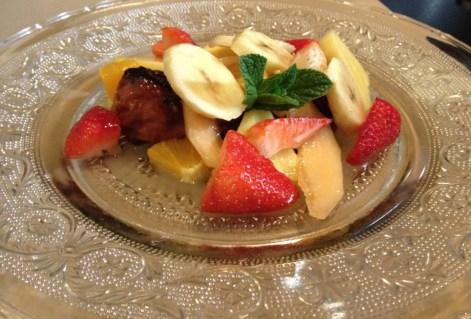 Les P'tits Pins, Fruits frais de saison et brioche en pain perdu froid, sorbet citron.
