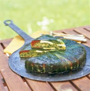 Tarte à la courgette verte, caillé et menthe fraîche, une recette de Benoit Witz, chef à l'Hostellerie de l'Abbaye de La Celle