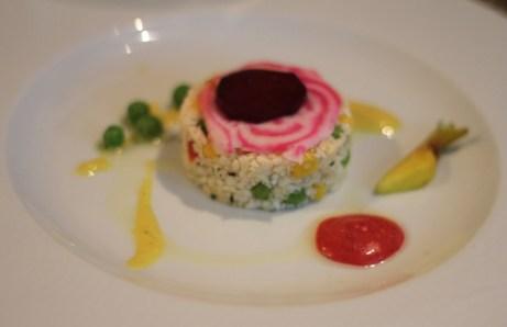 Taboulé de choux-fleurs, vinaigrette de framboise fraiche