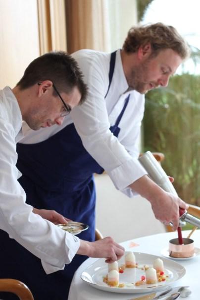 Guillaume Godin, chef pâtissier et Arnaud Donckele, chef de cuisine