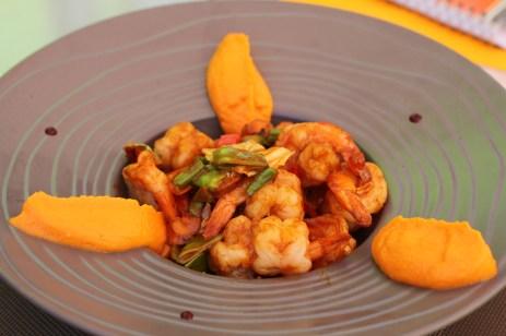 Wok de gambas aux petits légumes, relevés au Lemon Grass aigre-doux