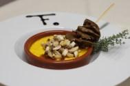 Crème brulée au potimaron, tartare de champignons