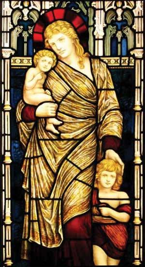 Магдалина со своими детьми – дочерью и сыном. Витражи из церкви Святого Назара, Лему, Лангедок, Франция ( St. Nazare, Lemoux, Langedoc)