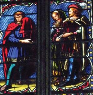 Трубадур показывает голову Иоанна Окситанской знати