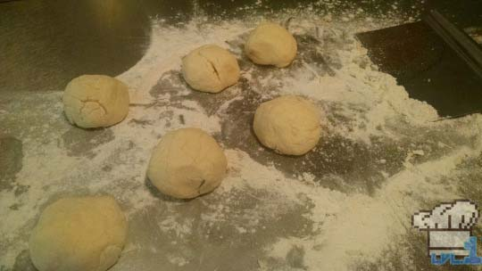 Roti bread dough formed into balls for Brain Food Lunch from Earthbound game series.