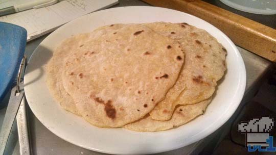 Cooked roti bread for Brain Food Lunch from Earthbound game series.