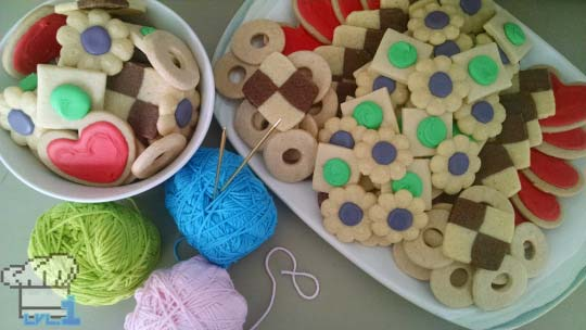 Decorated cookies from Yoshi's Wooly World game series.