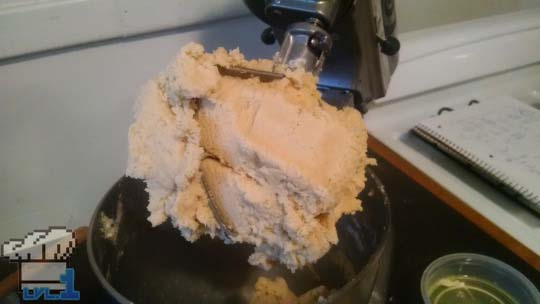 Creaming the butter, sugar and eggs together in the stand mixer for the cookie batter.