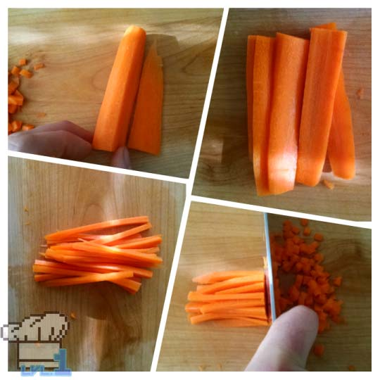 Chopping carrots in half, then into thin sticks and chopping them small to make stock for soup.