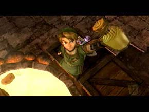 Link from Legend of Zelda Twilight Princess holding up a jar of Simple Soup.