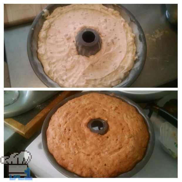 A side by side comparison of the Deku Nut chestnut cake batter in bundt pan prior to baking and the fully baked cake still in bundt pan, post baking.