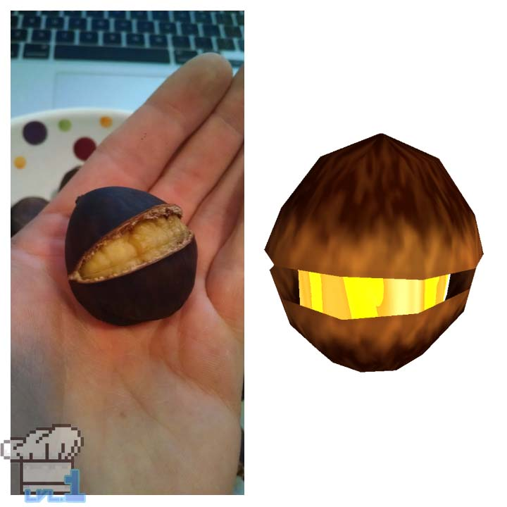 A side by side comparison of how similar the roasted chestnut looks like the Deku Nut from the Legend of Zelda Wind Waker game series.