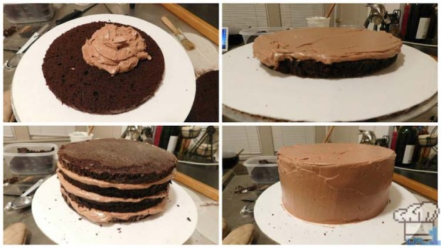 Portal cake sliced and layered with chocolate buttercream, then completely covered with icing on top.