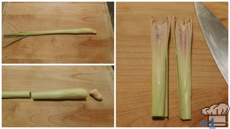 Slicing lemongrass in half for the curry base of the Superspicy Curry recipe from the Kirby's Dream Land game series.