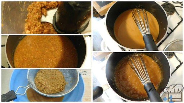 The curry paste has been strained and added to a pot to thicken up with a cornstarch slurry in process.