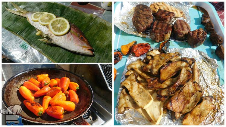 Finished recipes of Sneaky Fish, Sauteed Peppers, Grilled Steak and Mushrooms from the Legend of Zelda Breath of the Wild game series.