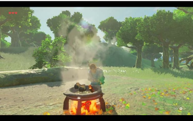 Screenshot of Link cooking outdoors on an open flame in the Legend of Zelda Breath of the Wild game series.