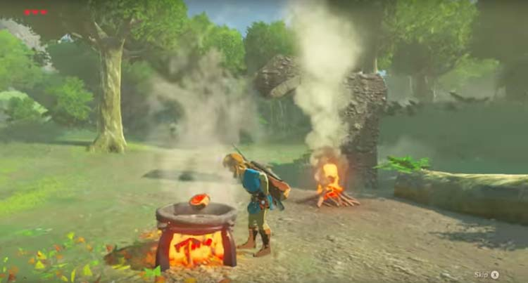 A screenshot from the preview trailer of the new Legend of Zelda Breath of the Wild game series of Link cooking meat on an outdoor grill in the woods.