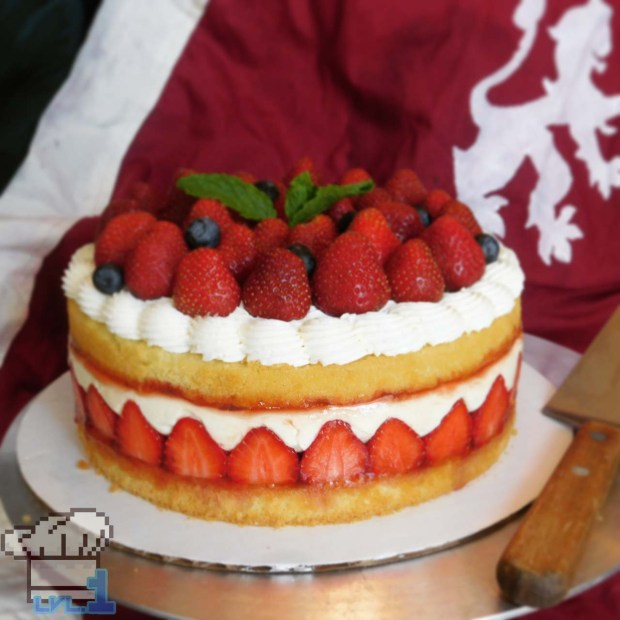 Completed strawberry frasier cake recipe from the Bravely Second End Layer game series.