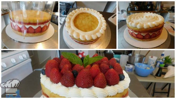 Assembling the cake layer by layer until completion, including the iconic strawberries on top.