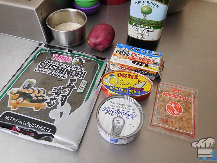 All of the ingredients to complete the Bonito Bitz cat food recipe from the Neko Atsume mobile game series.