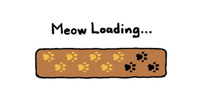 A pixel sprite image of the Meow Loading screen from the Neko Atsume mobile game series.