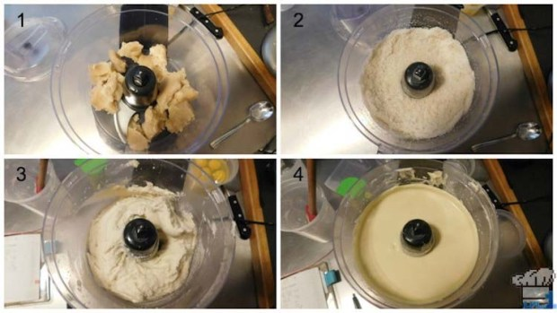 Mixing the almond genoise cake batter in a food processor for the base of our cake passenger car.