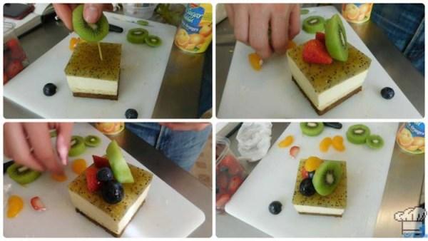 Assembling the fruit for garnish on top of the cake passenger car.