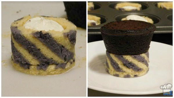 Assembling the base of the chocolate cannon car by filling the joconde sponge cake cup with buttercream and topping with the flattened chocolate cupcake.