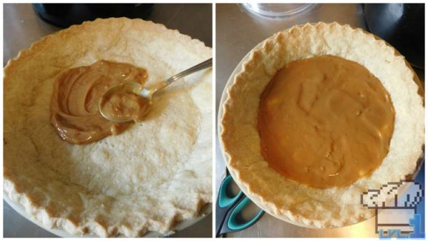Spreading the dulce de leche on the bottom of the pie crust for the base of the cheesecake, before adding the filling.