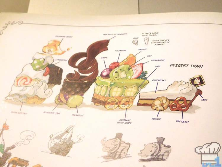 A hand drawn artist's interpretation of the dessert train from the Legend of Zelda Spirit Tracks game series, featured in the Hyrule Historia book.