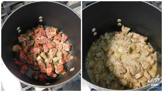 Cooking the meat in a medium sized stock pot before adding it to the stew to tenderize it.