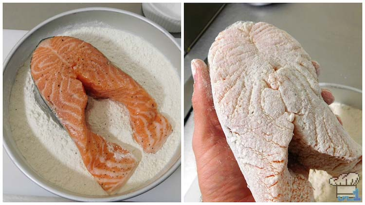 Salmon filet dredged in flour before pan frying for the Salmon Meuniere Legend of Zelda Breath of the Wild game series.