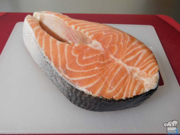 Raw fish glamour shot of the salmon filet for the Salmon Meuniere recipe from the Legend of Zelda Breath of the Wild game series.