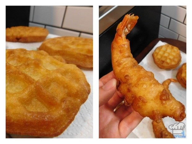 Finished deep fried Eggo waffle and shrimp tempura prior to assembling the Super Shwaffle food item from the Splatoon video game series.