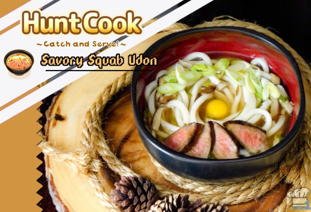 Finished recipe for the savory squab udon from the Hunt Cook: Catch and Serve mobile game