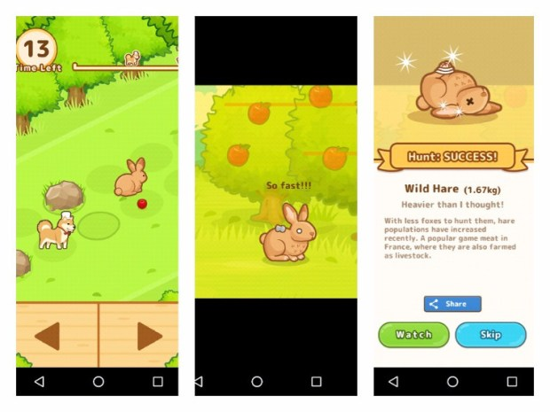 A collage of three screenshots showing gameplay from the Hunt Cook: Catch and Serve mobile game
