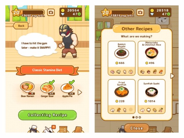 Two screenshots showing recipes from the Hunt Cook: Catch and Serve mobile game
