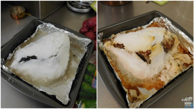 a before and after picture of the salt aged steak for the stupendous stew recipe from the Super Mario Odyssey video game