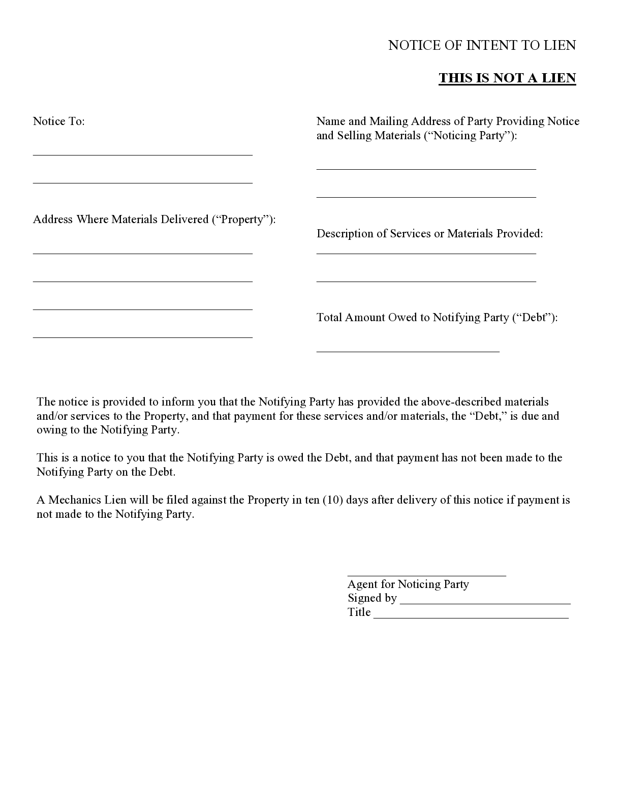 Virginia Notice Of Intent To Lien Form