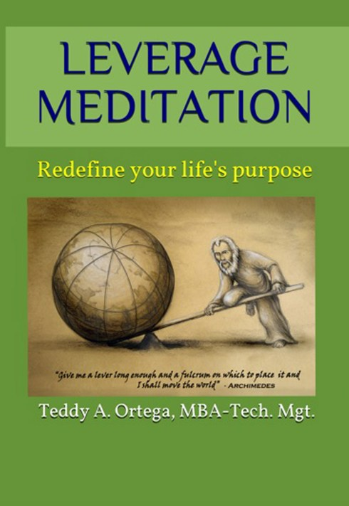 cover art for Leverage Meditation showing an old philosopher in a brown robe using a lever and fulcrum to lift a giant globe.