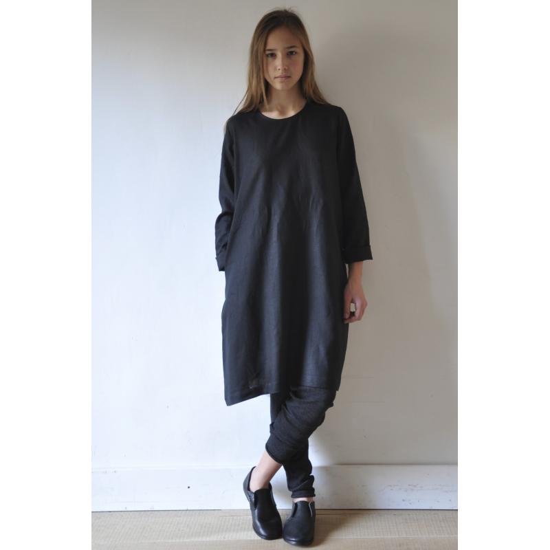 Robe Vase Manches Longues Uniforme Lin Noir