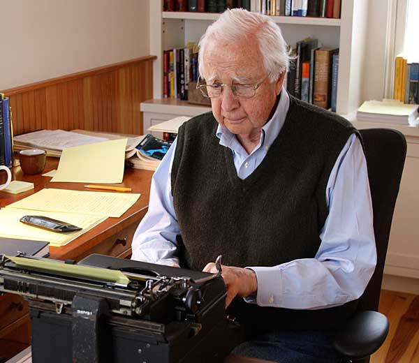 Historian David McCullough works on his vintage, historic Royal typewriter. Photo by Dorie McCullough Lawson. via Levenger Press.