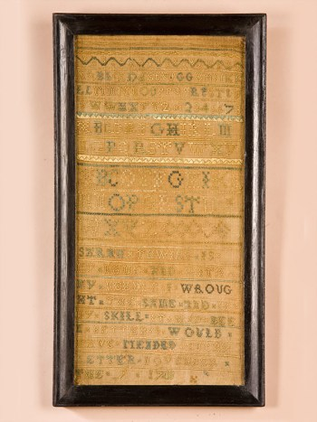 EARLY SAMPLER BY SARAH THWING (1737 - 1753)