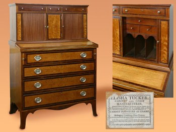 RARE FOUR GRADUATED DRAWER TAMBOUR DESK
