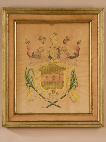 LEONARD WATERCOLOR AND GILT COAT OF ARMS